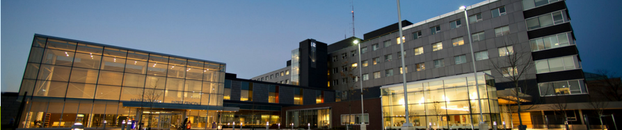 main hospital building at night
